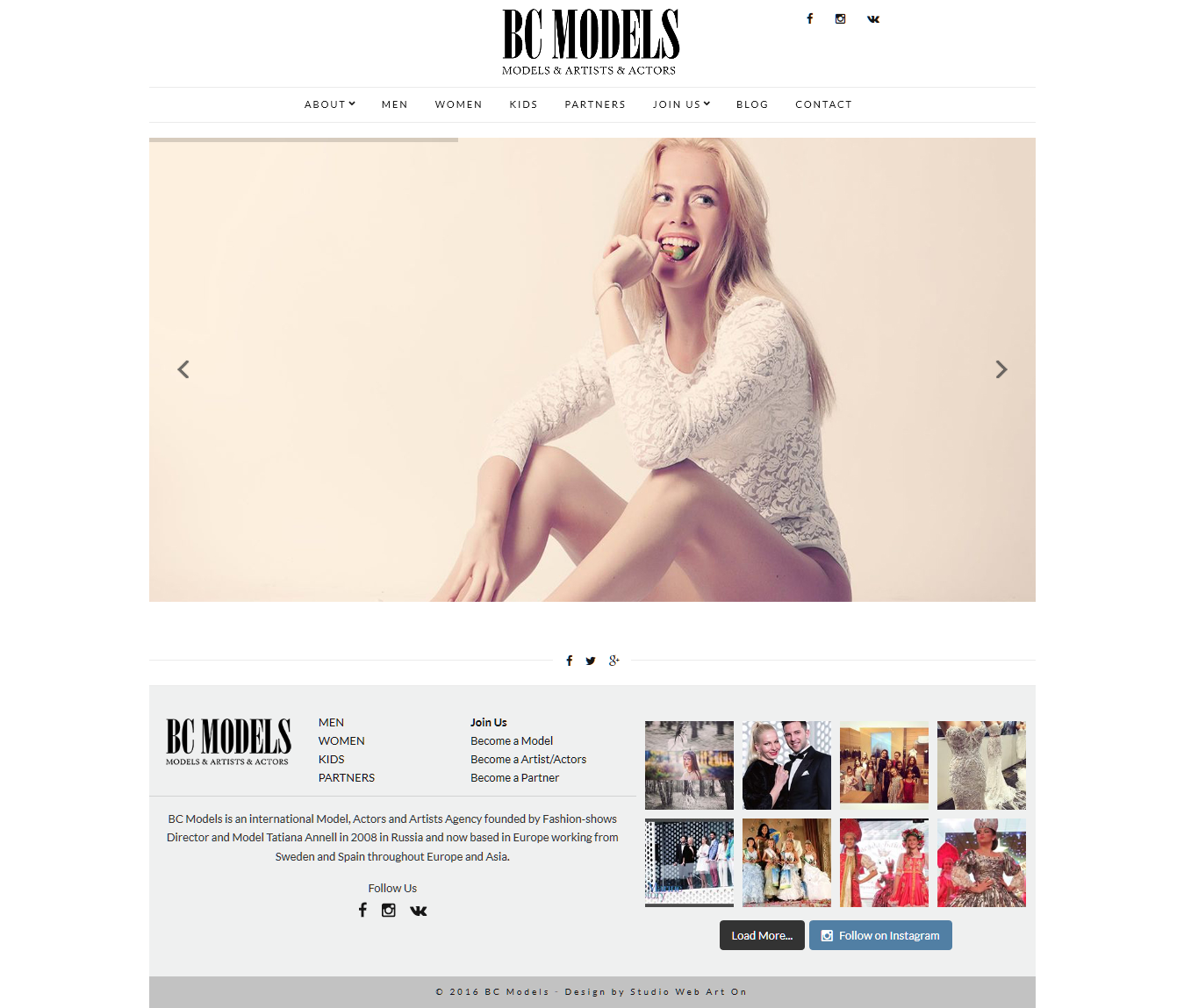 Diseño web BCmodels home